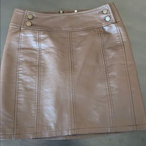 Free People brown leather mini skirt size 00